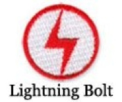 Iron on Lightning Bolt-White Patch 10-pack