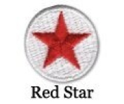 Iron on Star Patch Red/White 10-Pack