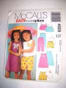 McCall's Easy Endless Options Dress, Shorts & Top Pattern #4029 Size CCE (3,4,5,6) Taille