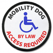 MOBILITY DOG Access Required Black Rim Symbol 10cm Sew-on Patch