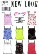 New Look 6873 Sewing Pattern Six Tops Shoulder Straps Size 6 - 16