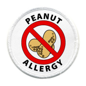 PEANUT ALLERGY Medical Alert 10cm White Rim Sew-on Patch