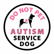 Pink AUTISM SERVICE DOG Medical Alert 10cm Sew-on Black Rim Patch
