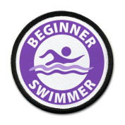 Purple BEGINNER SWIMMER Pool Safety Alert 10cm Sew-on Black Rim Patch