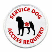 SERVICE DOG Access Required White Rim 10cm Sew-on Patch