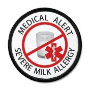 SEVERE MILK ALLERGY Red Medical Alert 10cm Black Rim Sew-on Patch