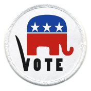 Vote REPUBLICAN Party Elephant GOP Stars and Stripes 10cm Sew-on Patch