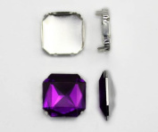 23mm Crystal Square Fancy Gems & Cup Settings - 5 Pieces