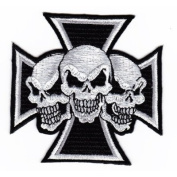 Bike Skull Tattoo patches 8.5x8.5 cm Motorcycle biker Embroidered Iron On Patch Great gift For men and woman by KLB TRADE
