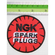 NGK SPARK PLUGS (Black & Red )Laser Iridium Biker Racing Race Embroidered Iron On Patch Great gift For men and woman by KLB TRADE
