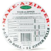 Sullivans 5-1/2-Yard Make-A-Zipper Kit, White