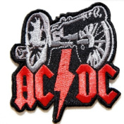 6.4cm X 7.6cm AC/DC ACDC FOR THOSE ABOUT TO ROCK Heavy Metal Rock Punk Music Band Logo Polo T shirt Patch Sew Iron on Embroidered Sign Badge music patch by Tourlesjours