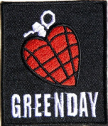 7cm X 7.6cm GREEN DAY HEART GRENADE Heavy Metal Rock Punk Music Band Logo Polo T shirt Patch Sew Iron on Embroidered music patch by Tourlesjours