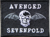 7.6cm X 5.7cm AVENGED SEVENFOLD Skull Bat Heavy Metal Rock Punk Music Band Logo Polo T shirt Patch Sew Iron on Embroidered music patch by Tourlesjours