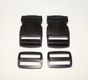 "1½"" Plastic Quick Release, Buckle Clip, Side Release, w/ Webbing Slide, 2 Piece Set"