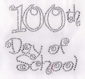 100th day of school (large) Iron On Hot Fix Rhinestone Transfer --Clear