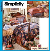 """SIMPLICITY HOME DECORATING PATTERN 21200cm SIMPLY CONCORD"""" BEDROOM DUVET, BED SKIRT, PILLOW SHAMS, THROW PILLOWS, TABLECLOTH & TABLETOPPER"""