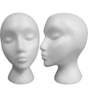 25cm Tall Female Styrofoam Abstract Mannequin Head