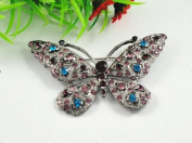 1pcs Butterfly the Antiqued Rhinestone Crystal Flower Brooch Pin