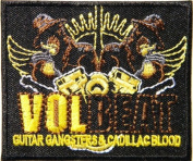 7.6cm x 6.4cm VOLBEAT GUITAR GANGSTERS CADILLAC BLOOD Heavy Metal Rock Music Band Logo jacket T-shirt Patch Iron on Embroidered music patch by Tourlesjours