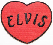 8.9cm x 7.6cm ELVIS PRESLEY Heart Rock n Roll Pop Rock Music Logo Band jacket T-shirt Patch Iron on Embroidered Logo music patch by Tourlesjours