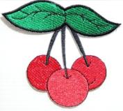 9.5cm X 8.3cm Three Sweet Cherry Lady Biker Shirt Jacket Patch Sew Iron on Embroidered