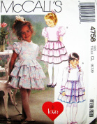 McCall's 4758 Fancy Little Girl Tier Dress (3 Styles) Size 6, 7, 8, ~ It Must Be Love Sewing Pattern