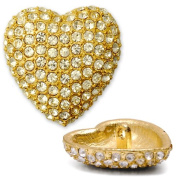 20mm Rhinestone Heart Button with Shank, Crystal/Gold by each T5006