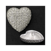 20mm Rhinestone Heart Button with Shank, Crystal/Silver by each T5006