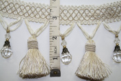 Beaded Tassel Fringe Trim 8.9cm Style# Bf 4027 24/28 Cream/white Colour, Sold By the Yard