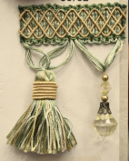 Beaded Tassel Fringe Trim 8.9cm Style# Bf 4027 33/82 Gold/green Colour, Sold By the Yard