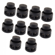 Amico 10 Pcs Plastic Toggle Stoppers 2 Holes Cord Locks End Black