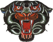 Novelty Iron On - Animals Tribal Black Panther Tiger Patch