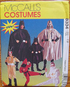 McCall's 8334 Sewing Pattern ~ Superhero Children's Halloween Costumes, Batman, Sizes 7, 8