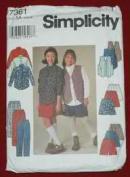Simplicity 7361 Girls' Shirt, Vest, Skirt, Pants & Shorts Size AA