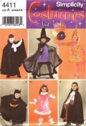 Simplicity Costumes for Kids 4411 Size A (3,4,5,6,7,8) Batman, Bunny, Witch, Clown, Vampire