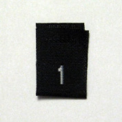 Size 1 (One) Black Woven Clothing Size Labels