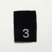 Size 3 (Three) Black Woven Clothing Size Labels