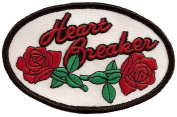 Leather Supreme Heart Breaker Red Roses Lady Rider Embroidered Biker Patch