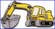 Backhoe Digger Tractor Loader Trackhoe Bulldozer Yellow Appliques Hat Cap Polo Backpack Clothing Jacket Shirt DIY Embroidered Iron On / Sew On Patch #1