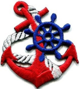 Anchor Tattoo Red Biker Retro Ship Boat Appliques Hat Cap Polo Backpack Clothing Jacket Shirt DIY Embroidered Iron On / Sew On Patch #5