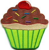 Cupcake Retro Disco Fun Applique Iron-on Patch S-204 Handmade.