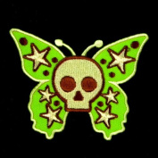 I0547 Skull Star Fancy Butterfly Halloween Sew or Iron on Patch 65*80mm Applique Handmade From Thailand