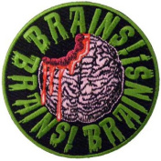 "Novelty Iron On Patch - Creepy Zombie Dead ""Eat Me"" Head Brains Applique"