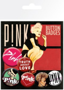 Pink - 6 Piece Button / Pin / Badge Set