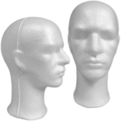 Abstract Face Male Styrofoam Mannequin Head with Long Neck