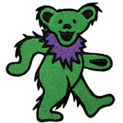 Grateful Dead Garcia Green Dancing Bear Embroidered Iron on Patch