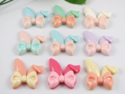 24pcs Resin Cute Rabbit Ears Bow Flatback Button Embellishments Craft -Upink