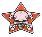 Aftermath Artist Novelty Iron On Patch - Dead Skull w/ Crossbones in Red Star Applique
