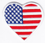 Biker USA Flag Love Heart Iron on Backing Embroidered Patch Heat Seal Appliques